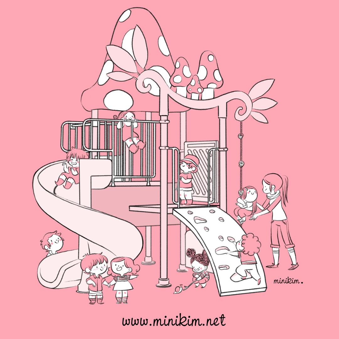 Parc square enfants qui jouent au parc