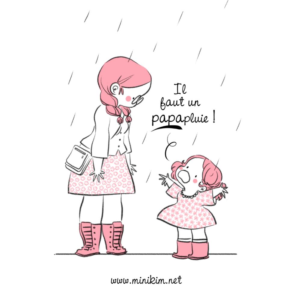 Petite pluie papapluie vie de famille tranche de vie blog BD Histoire de famille histoire drôle mignon adorable parapluie nuage qui pleure nuage kawaii mère et fille mignon cute
