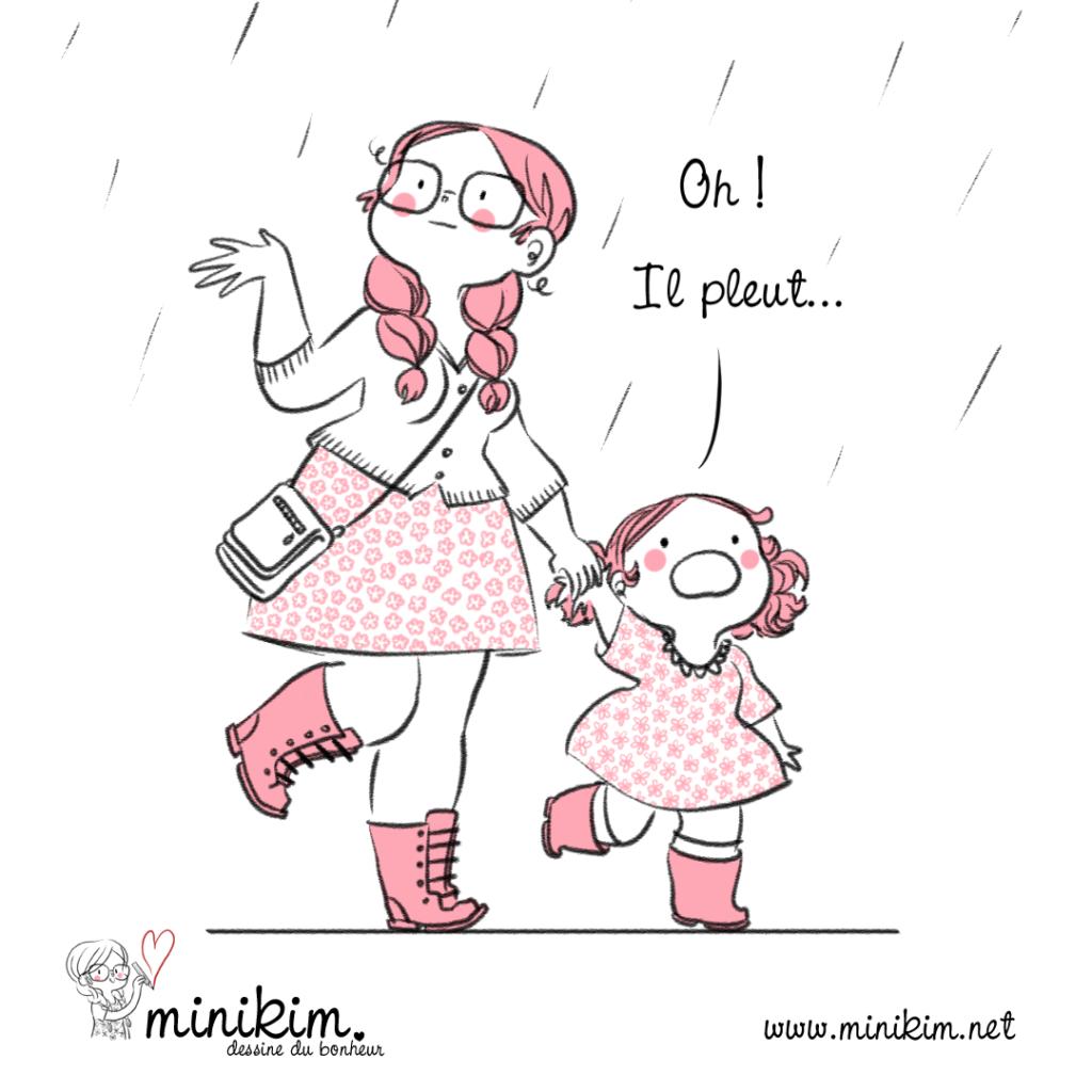 Pluie d'été, pluie estivale, pluie de printemps, dessin, illustration, dessine du bonheur, dessin cute, mignon, rose, gratitude