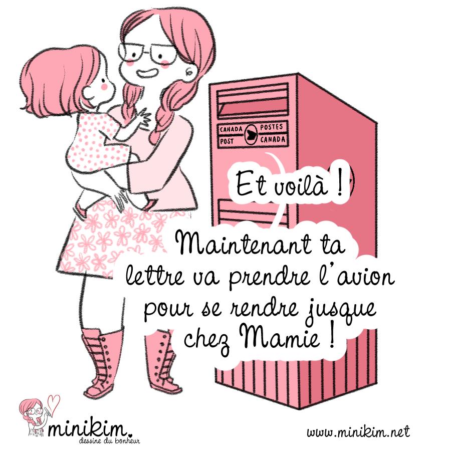 Vie de famille, envoyer une lettre, courrier du coeur, lettre d'amour, boite aux lettres canada, Canada, par avion, vie de maman, BlogBD, dessin du jour, prendre l'avion, mère et fille, promenade en famille, temps de qualité, parentalité