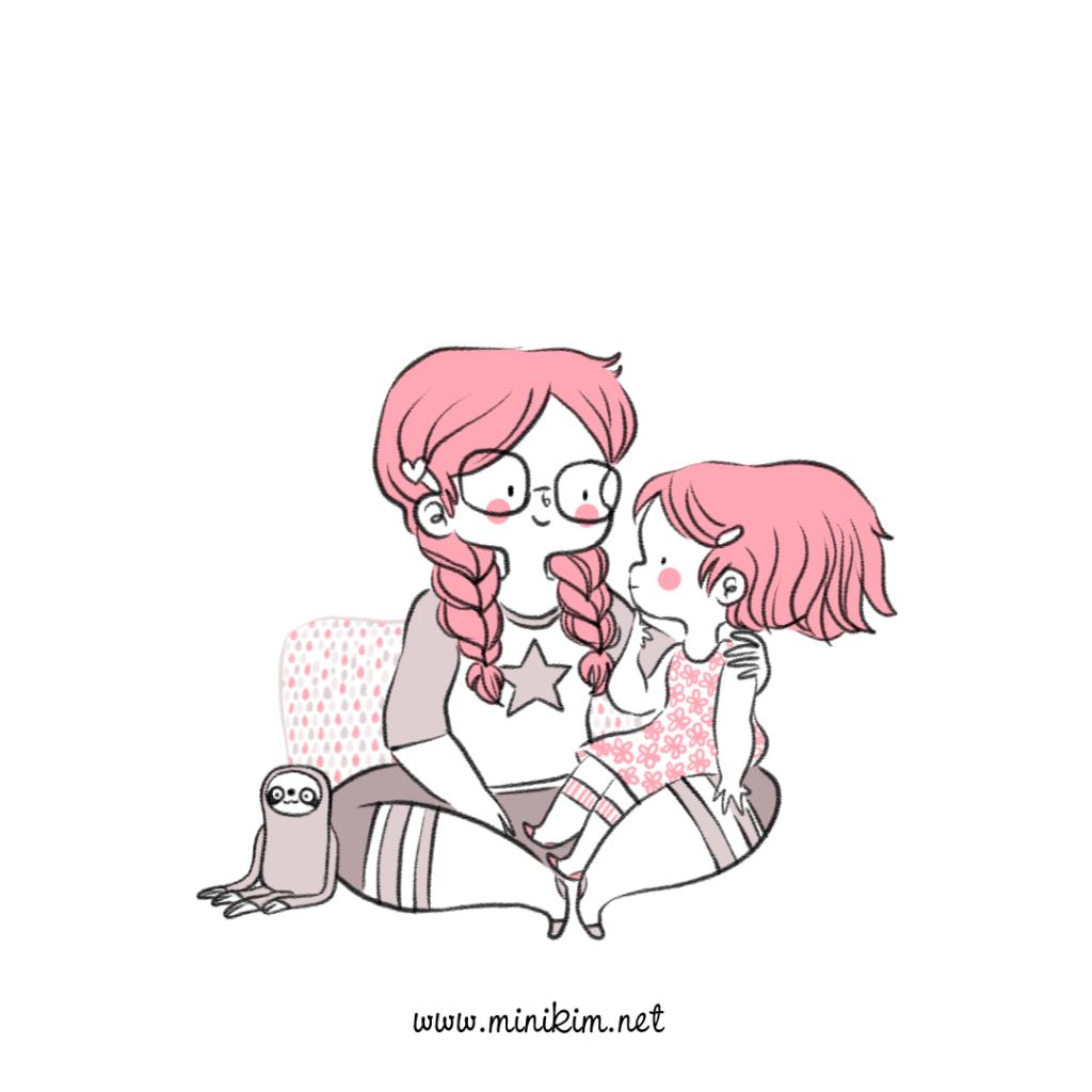 Mère et fille, BD de famille, Illustrateur montréal, Livre jeunesse, Bande dessinée jeunesse, BD, Jeunesse, cute, adorable, kawaii, vie de famille