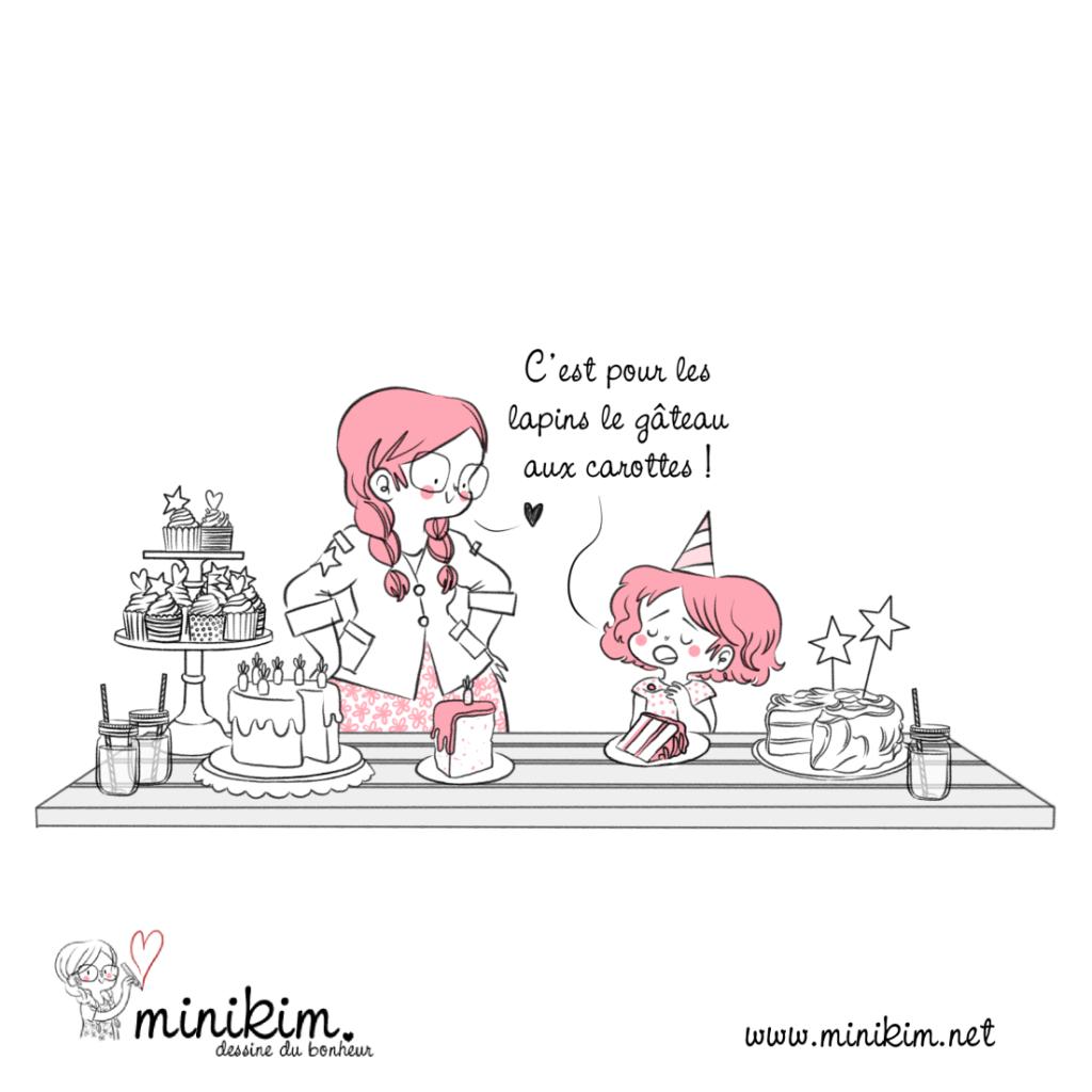 Histoire de gâteaux, gâteau aux carottes, gâteau au chocolat, party d'enfants, fête d'anniversaire, illustration jeunesse, illustrateur montréal, livre jeunesse, cupcakes, Anniversaire d'enfant, goûter d'anniversaire, chapeau de fête, mère et fille, vie de famille, lapin,