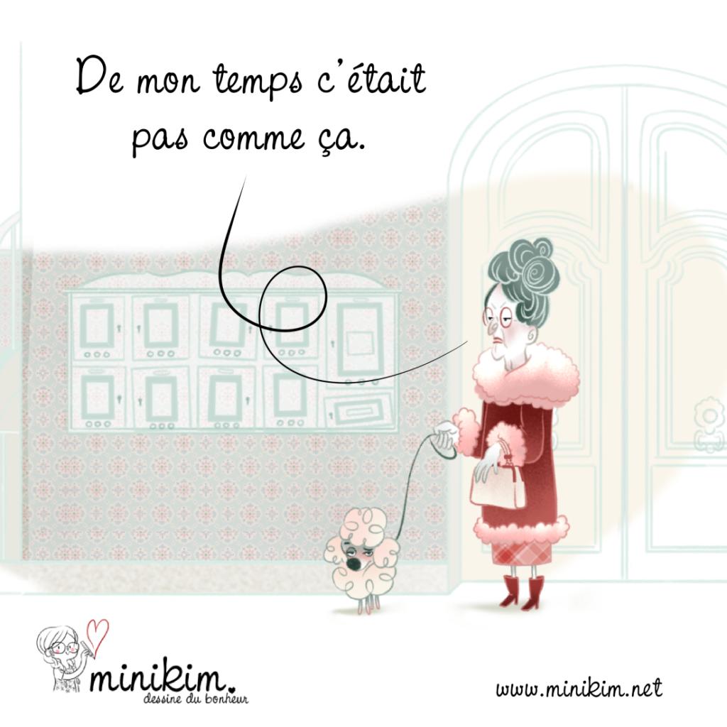 Gna gna gna, vioque, vieille voisine, mémé, dame agée, BCBG, vintage, vivre avec un chien, caniche, petit chien d'appartement, parisienne