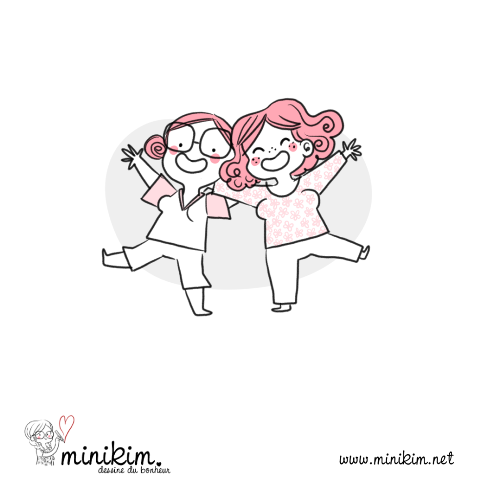 Heureux, happy, amies, amie, friends, amour, amitié, dessin, illustration, croquis, drawing, partage, hug, calin