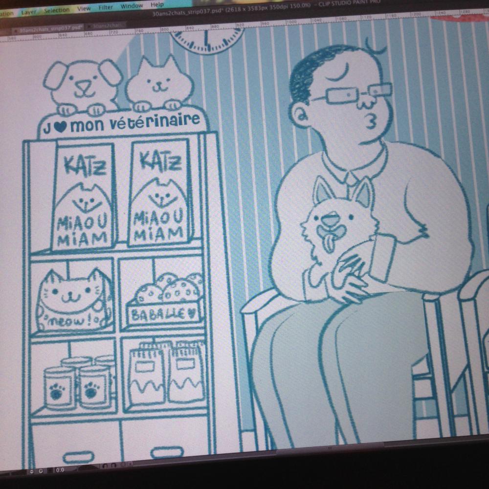 MiniKim, Illustrateur, Montréal, Québec, BD, Blog BD, Corgi, Corgi France, Petit Corgi, Corgi trop mignon, chiot corgi, packaging, Vétérinaire, salle d'attente du vétérinaire, Chez le véto, animaux de compagnie, paquet de croquettes
