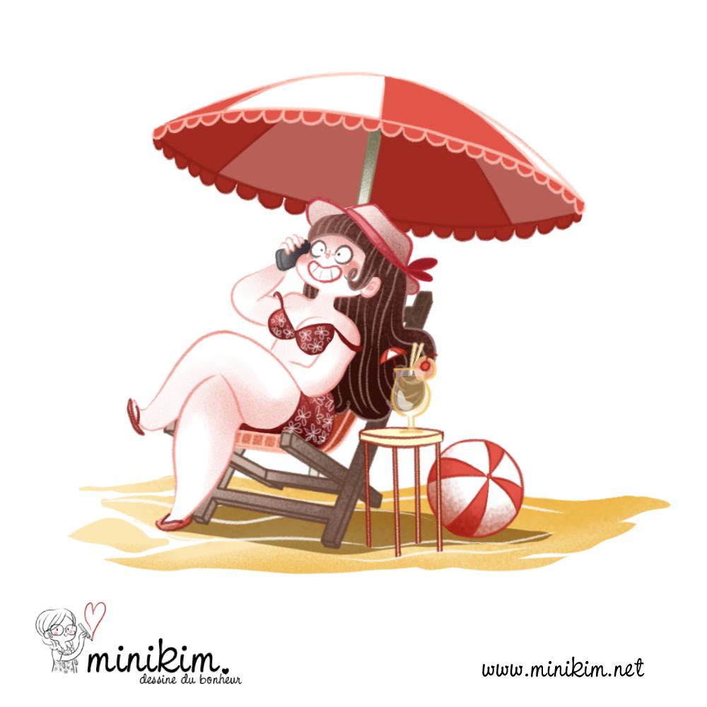 Le lundi au soleil, coup de téléphone, au téléphone, illustration, 30 ans 2 chats, Minikim, Bande dessinée, Montréal, Auteur de BD, parasol, Dessin, En couleur, Colorisation numérique, Clip studio paint, ballon de plage