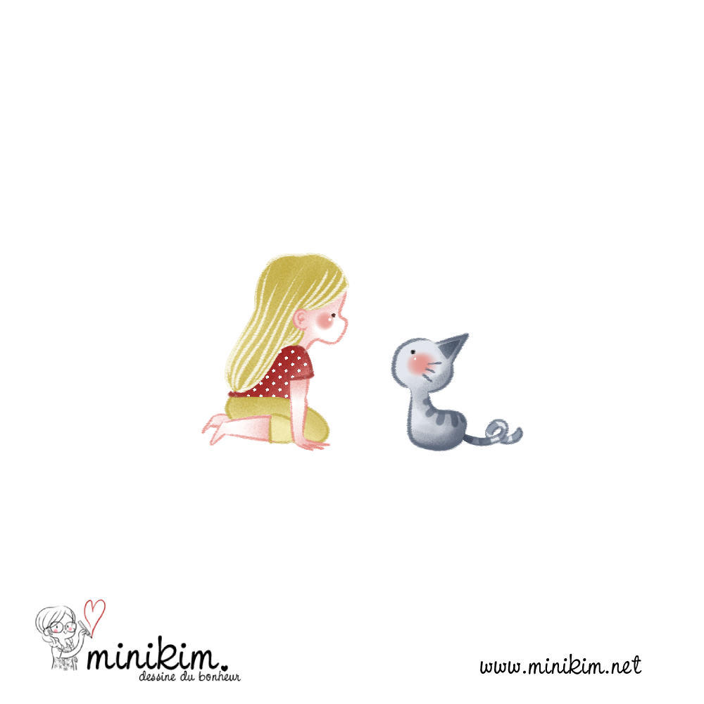 fillette, chaton, chat, vie de chat, chat mignon, BD de chat, Bande dessinée de chat, histoire de chat, bisou de chat, MiniKim, Flora, 30 ans 2 chat, BD, Bande dessinée, couleur, Cute chat, chat kawaii, dessiner des chats, dessiner un chat, Montréal