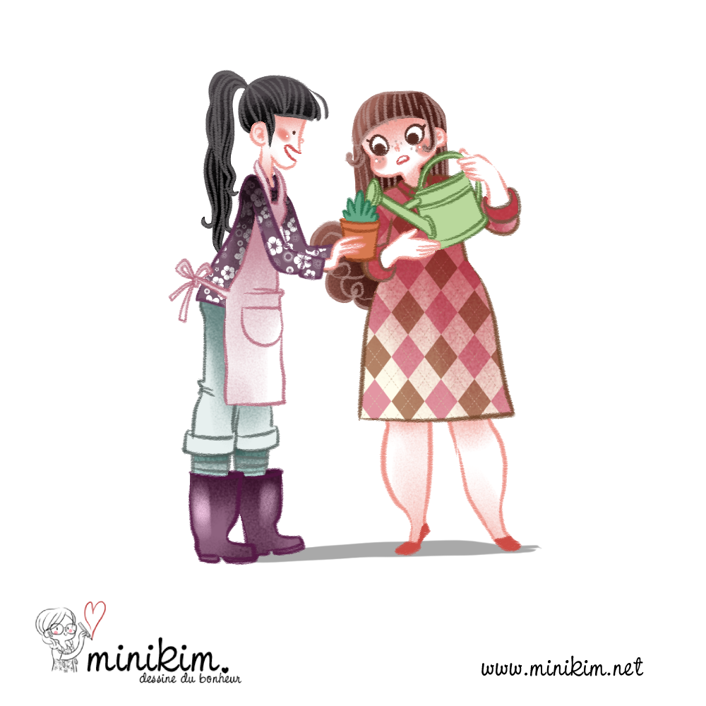 Fleuriste, illustration, MiniKim, cute art, fleur, arrosoir, arrosage, tablier de fleuriste, plantes, dessin, art, BD, 30 ans 2 chats, édition bamboo