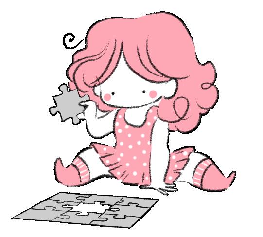 Puzzle, casse tête, illustration cute, kawaii, pink, rose, MiniKim, Montréal, Auteur de BD, Petite robe d'été, Robe à pois, Illustration jeunesse, Enfant, dessin, personnage