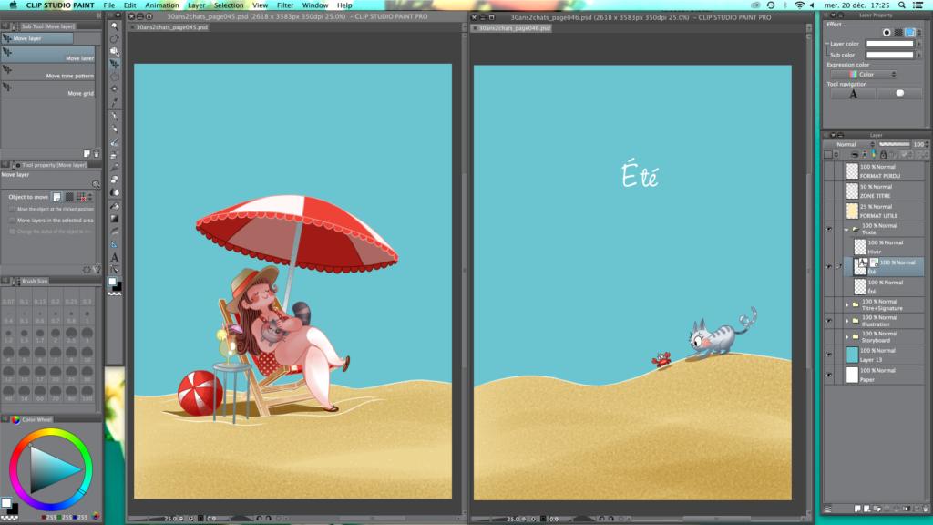 Au bord de l'océan, Océan, Plage, vacances, MiniKim, Illustration plage, chat sur la plage, chat en vacances, voyager avec son chat, crabe rouge, petit crabe mignon, cute, kawaii, parasol, chaleur, canicule, soleil, été, vive l'été, sous le soleil, dessin