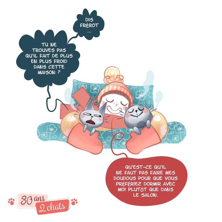 Chat, histoire de chat, bande dessinée, illustration, Minikim, illustrateur, Montréal, Québec, Manga, japon, nuit, il fait froid, chat bouillote, Flora, 30 ans 2 chats, dormir en tuque, mitaines, dormir la fenêtre ouverte, en hiver