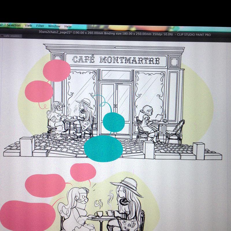 Café Montmartre, Paris, terrasse de café, terrasse parisienne, Montmartre, Paris, Minikim, entre amies, temps de qualité, discuter autour d'un café, chocolat chaud, café parisien