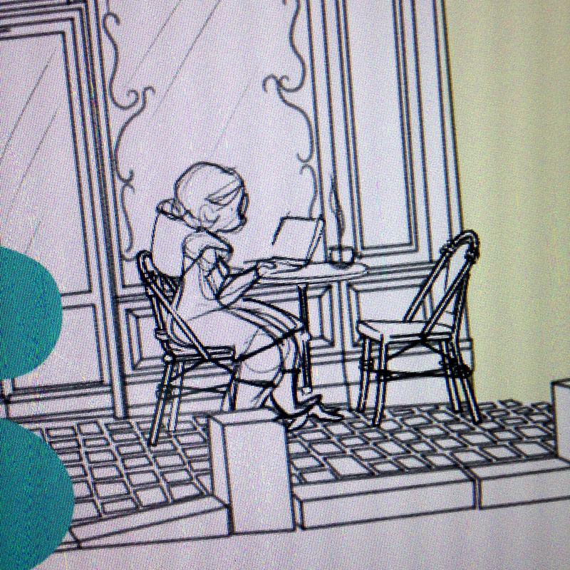 Scénariste au travail, terrasse de café parisienne, paris, café, travailler dans un café, travailler en freelance, travailler en terrasse, auteur, scénario en cours, Éole sur la lune, concentrée, Minikim