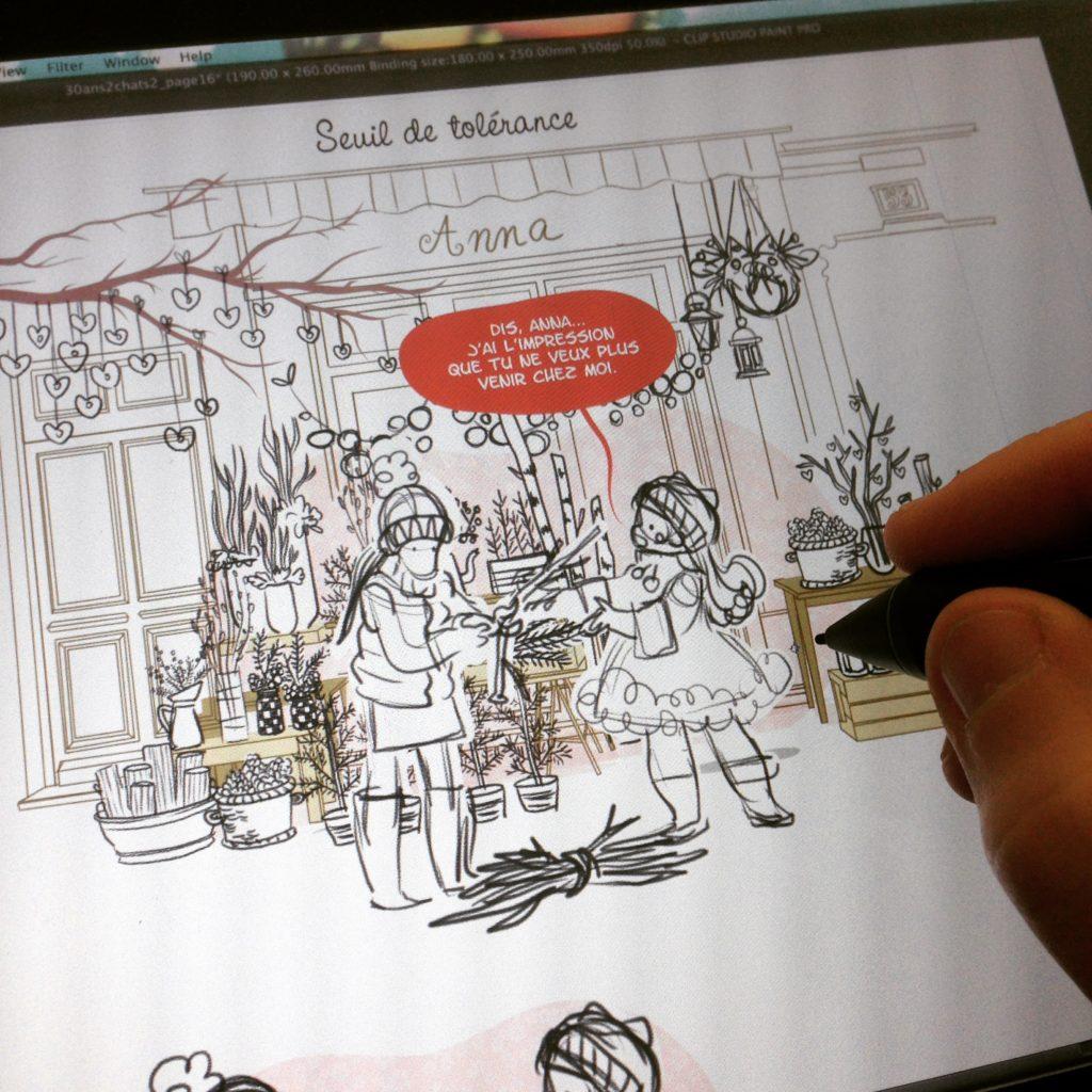 30 ans 2 chats, jardin d'hiver, boutique de fleurs, fleuriste en hiver, fleurs d'hiver, Anna, Luce, Minikim, illustratrice, bande dessinée, storyboard BD, amitiée, amies, dessin, croquis, crayonnés, Montréal