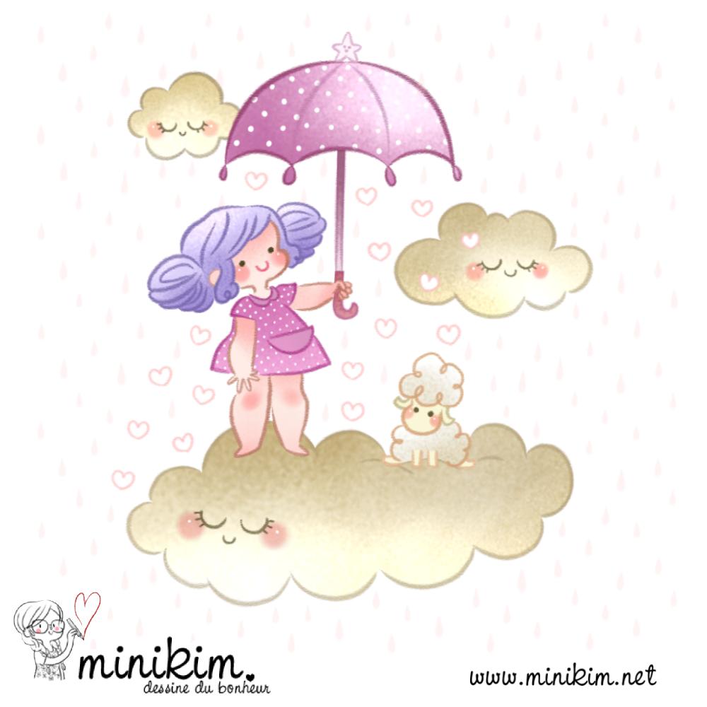 Lilibulle, illustration, jeunesse, littérature jeunesse, affiche, déco, chambre, enfant, enfance, bébé, tndresse, tendre, douceur, douce, mignon, pastel, kawaii, mouton, mignon, nuage, Minikim, dessin, sous un parapluie, sur mon nuage, sur un nuage