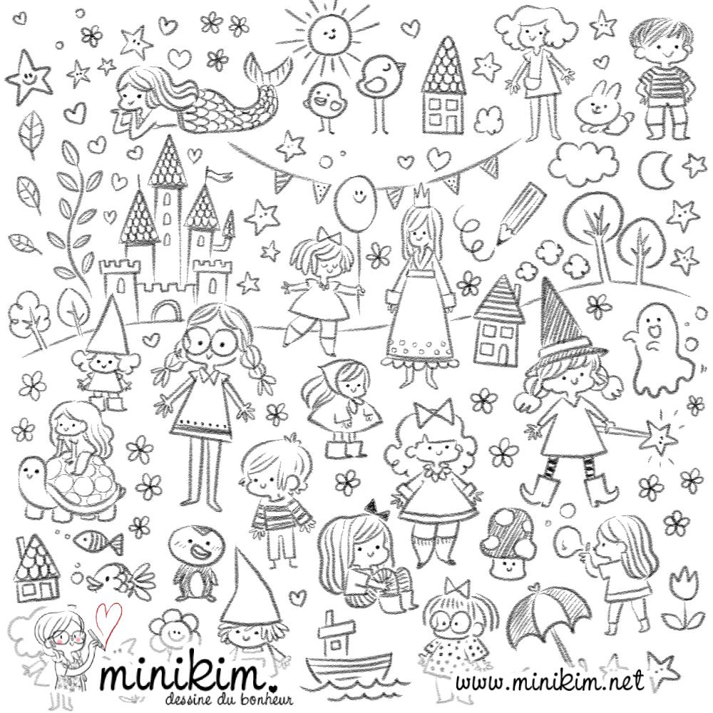 Doodle art, dessin, Minikim, dessiner, j'aime dessiner, métier dessinateur, illustrateur, Montréal, cute, kawaii, illustration, sorcière, chateau, art,