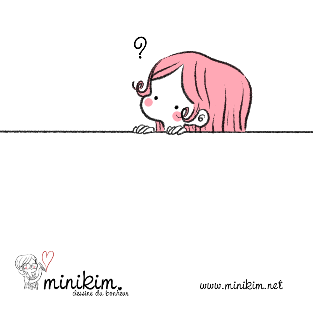 Question, quoi, dessin minimaliste, rose, Minikim, illustration, cute, kawaii, de l'utre coté du mur, mignon, joues roses