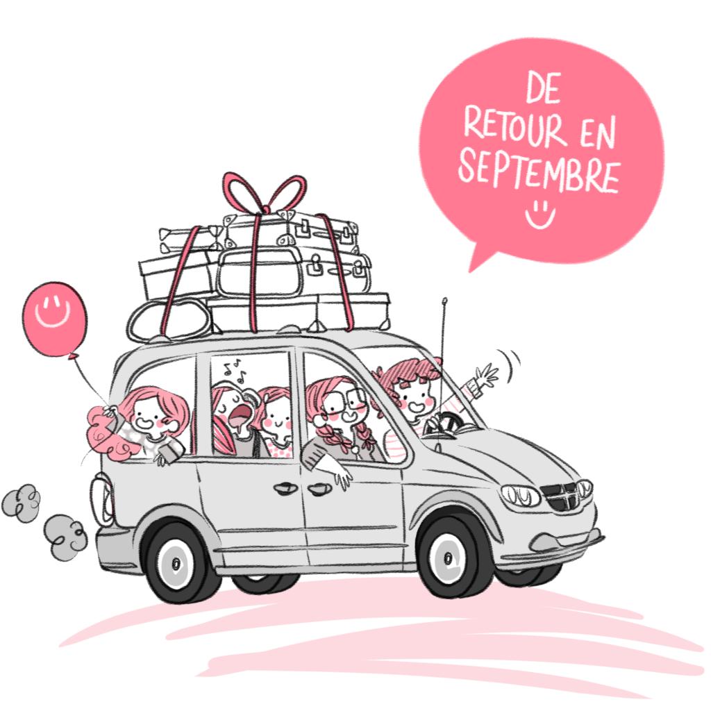 road trip, road trip en famille, voiture, cute, voyage, enfant, enfants, voyager, avec les enfants, papa, maman, en voiture, sur la route, visiter, voyage, valises, bagages, sur le toit, auto, dodge grand caravan, Minikim, dessin, rose, blog, bd, bande dessinée