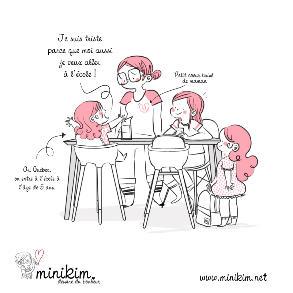 Illustration, kawaii, rose, enfants, parents, bébé, pleure, école, nouveau, sac, d'école, 3 filles à la maison, Rentrée scolaire, retour à l'école, école primaire, apprendre