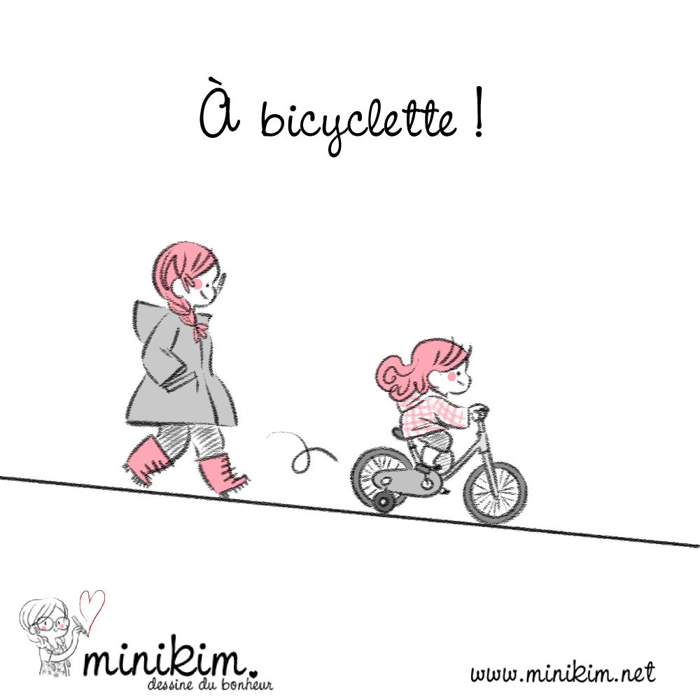À bicyclette, vélo, apprentissage du vélo, panne d'essence, En famille, Bande dessinée, minikim, Dessin, illustration, bicyclette, bike, petites roues, Montréal, Blog BD, Rues, ruelles, Illustrateur, dessiner, adorable, Mots d'enfants