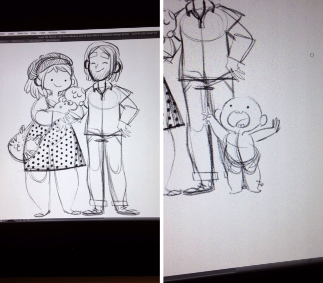 Illustration de famille, Laurel, dessin, bande dessinée, famille, famille illustrée, portrait de famille, parents