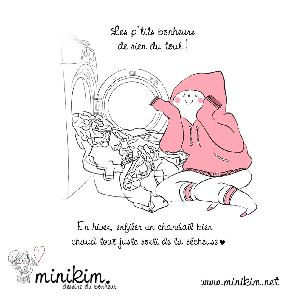 Petits bonheurs, illustration, le bonheur au quotidien, dessin, dessiner, douceur, chaleur, les petites choses, dessiner, cute, kawaii, rose, illustratrice, dessinateur, Minikim, Montréal, Québec
