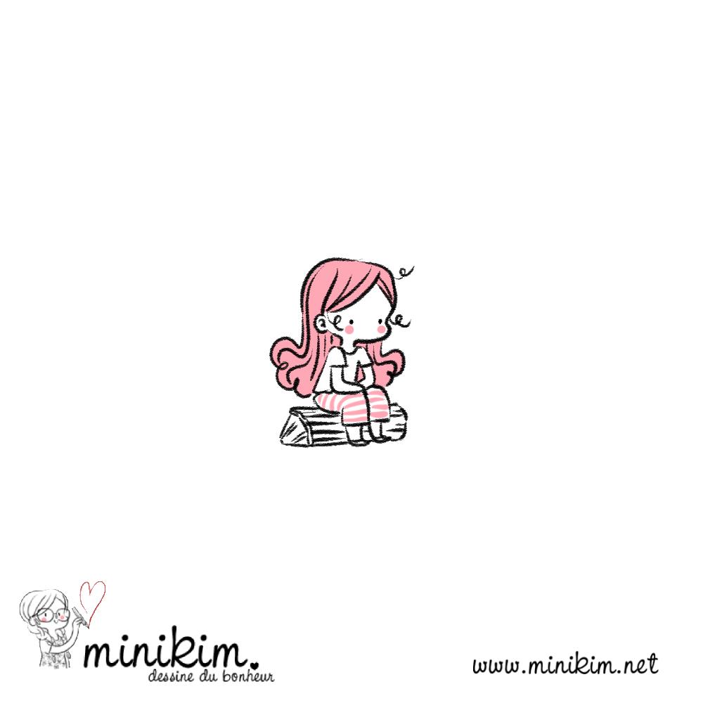 Illustration de Minikim qui représente une fillette à l'air triste assise sur une bûche de bois